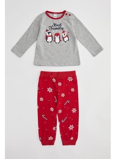 DeFacto Kız Bebek Yeni Yılbaşı ı Pijama Takımı Gri